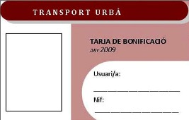 Tarja de Transport Urbà (revers)